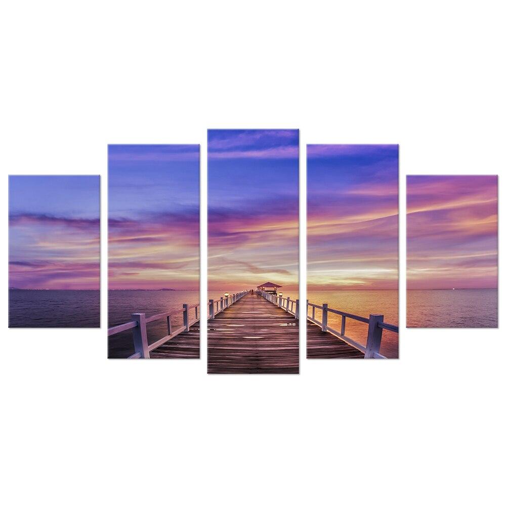 5 шт. холст Книги по искусству красивый закат пейзажная живопись принты Приморский деревянный Пирс мост Home Decor картинки для Гостиная