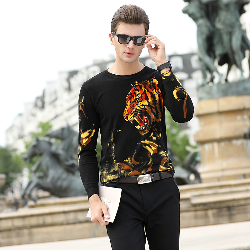 Chinese Style Tiger Head Pattern Printing Fancy Pullover Sweater Autumn 2018 High-quality Cotton Soft Elastic Sweater Men M-XXXL