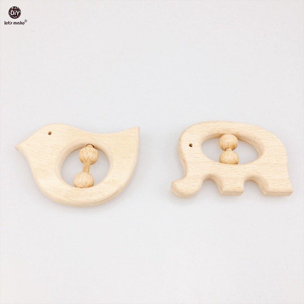 Let's Make Wood Baby Teether 10pc Nursing Teething Toy Infant Wooden Holder Handmade Rattles Teether Newborn Baby Rattles