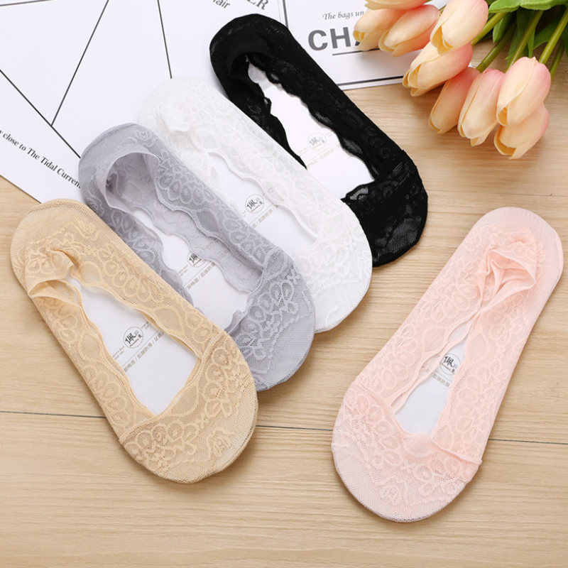 Fashion Women Cotton Lace Antiskid Invisible Liner Socks Elastic Comfy Female Summer Spring Ankle Boat Low Cut Short Socks