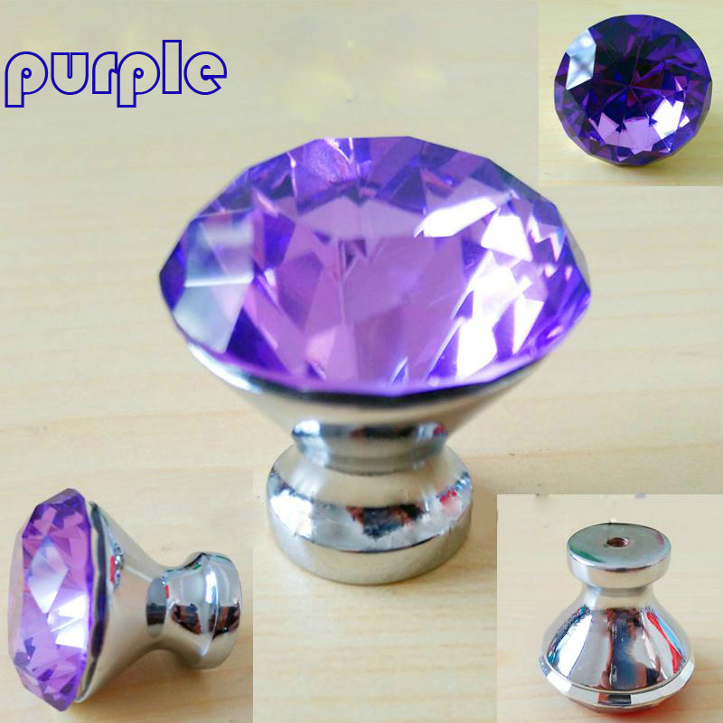 30mm 40mm colourful glass crystal drawer tv cabinet knobs pull ...
