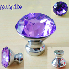 30mm 40mm Colourful Glass Crystal Drawer Tv Cabinet Knobs Pull Silver Purple  Red Light Blue Kitchen