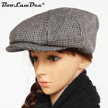 BooLawDee windproof plaid woolen newsboy cap for elderly men spring and  autumn leisure leisure painter hat f97765bd9677