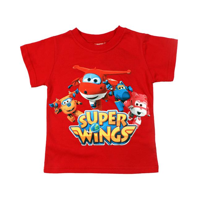 Baby Boys Clothes Children T-Shirt Super Wings Print tshirt Cartoon Cotton Summer Short Sleeve T Shirts 3 4 5 6 7 Kids Boys Tops