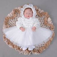 Autumn New Baby Girl Christening Gown First Birthday Baptism Long Sleeve Pom Pom Lace Princess Dress +Hat E213