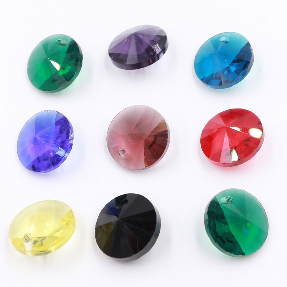 50Pcs 8MM Satellite Drill Rivoli Crystal Beads Pointed Back Round Glass Beads Fancy Stone For Jewelry Making Necklaces Earrings