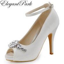 أحذية النساء الأبيض العاج اللمحة تو أحذية منصة عالية الكعب الكاحل حزام الراين مضخات الزفاف الساتان امرأة أحذية الزفاف HP1546I