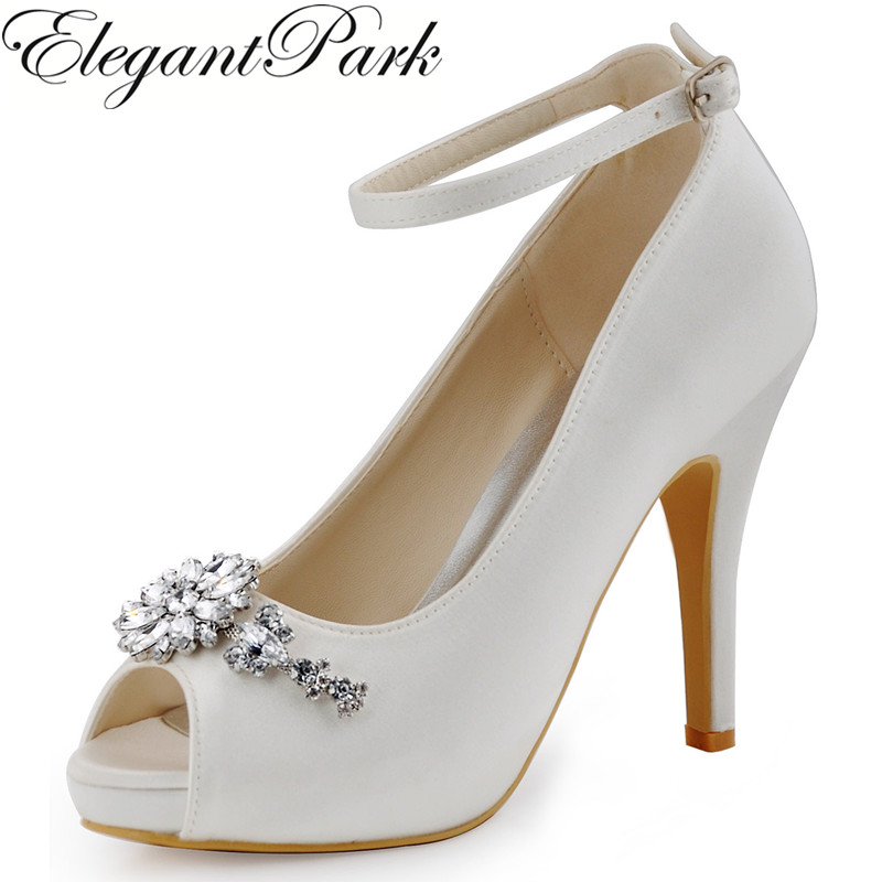 цена на Women Shoes White Ivory Peep Toe High Heel Platform Shoes Ankle Strap Rhinestones Bridal Pumps Satin Woman Wedding Shoes HP1546I