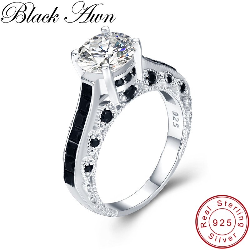 Black Awn Luxurious 925 Sterling Silver Fine Jewelry Trendy Engagement Bague Black Spinel Leaf Women's Wedding Ring GG015