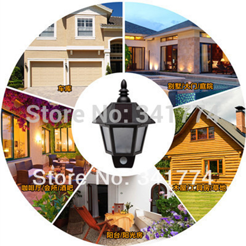 New Luz De LED Solar Panel Human Body Induction Hexagonal Motion Sensor Wall lamp Garden Outdoor Porch Luminaria Decoration new solar spot luminaria solar energy luz garden light garden lantern led solar light outdoor garden solar lamp