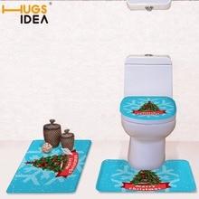 hugsidea christmas tree designer soft bathroom toilet seat cover feliz navidad rug merry christmas print wc