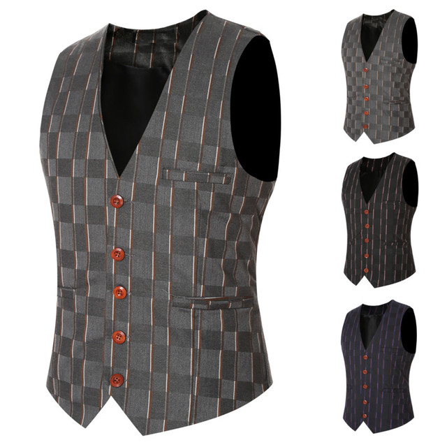2016 Sleeveless Jacket Waistcoat Men Dress Suit Vest Fashion Male British Style New Slim Single Breasted Bussiness Gilet Vest