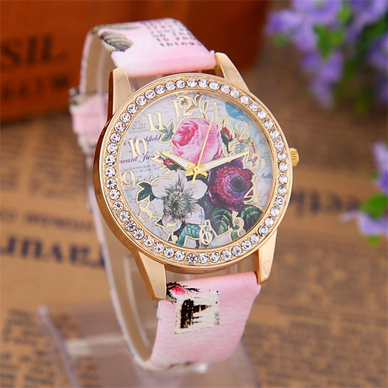 MINHIN Luxury Women Rhinestone Gold Plated Watches Bohemia Flowers Leather Band Bracelet Watch Top Brand Quartz Wristwatches