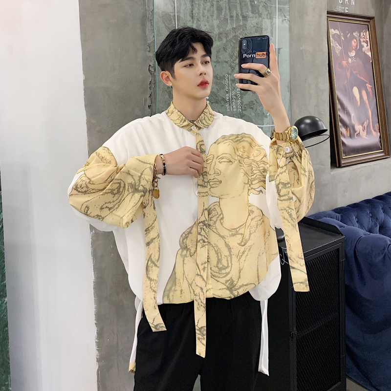 Men Long Sleeve Character Print Ribbons Loose Casual Shirt Male Streetwear Hip Hop Party Stage Show Dress Shirts-in Casual Shirts from Men's Clothing    1