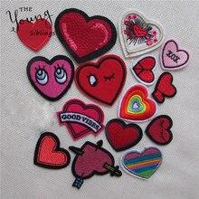 Смешанные нашивки в виде любящего сердца для одежды, железные вышитые аппликации, железные нашивки для одежды, Швейные аксессуары для DIY