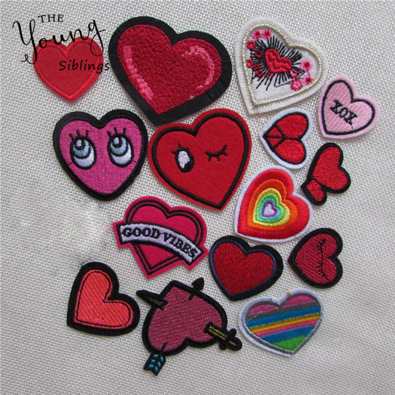 mixed loving heart patches for clothing iron on embroidered appliques iron sew on clothes patches sewing accessories for DIY