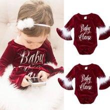 Лидер продаж, Рождественская новорожденная девочка-новорожденный комбинезон с длинным рукавом из флока с длинным рукавом, зимний теплый милый комбинезон с надписью для детей от 0 до 24 месяцев