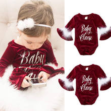 Hot Kerst Pasgeboren Baby Meisje Lange Mouwen Solid Fur Flock Jumpsuit Rompertjes Winter Warm Leuke Brief Outfit 0-24 M(China)