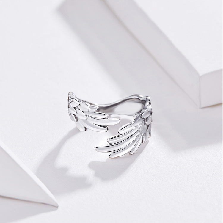 HTB1Ey01S9zqK1RjSZFHq6z3CpXa9 BAMOER Guardian Wings Ring Authentic 925 Sterling Silver Free Size Adjustable Finger Rings for Women Fashion Jewelry SCR512