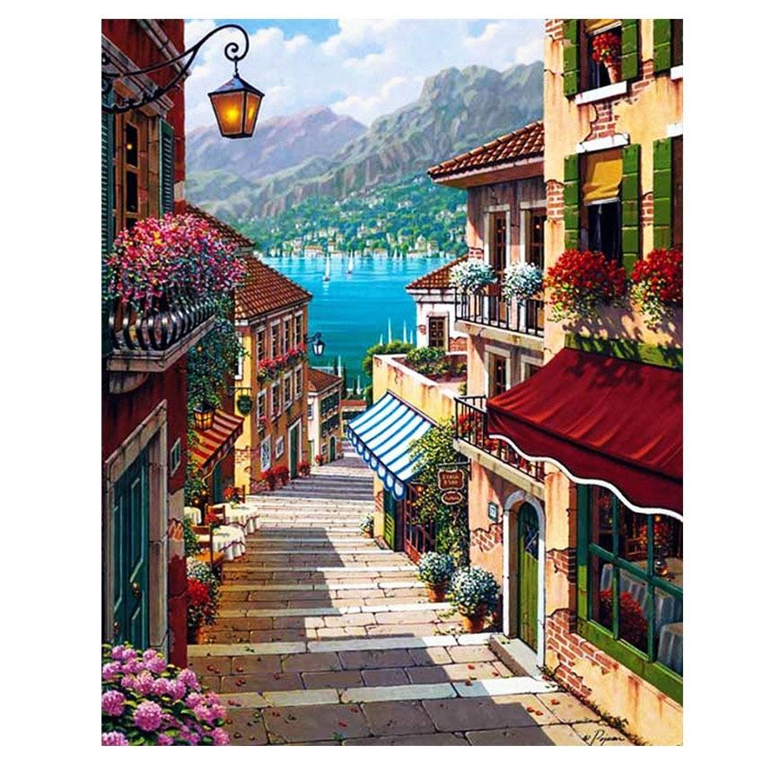 WEEN यूरोप सिटी पिक्चर्स कैन पेंटिंग ऑन नंबर्स ऑन कैनवस DIY हैंडपेंटेड कलरिंग बाय नंबर्स होम डेकोर नो फ्रेम वॉल आर्टवर्क