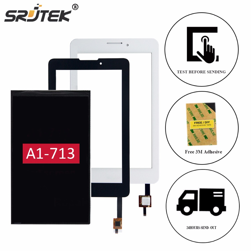 Srjtek 7 For Acer Iconia Tab 7 A1-713 A1-713HD LCD Display Touch Screen Digitizer Glass Panel Sensor Tablet Replacement Parts for acer iconia tab a1 a1 810 a1 811 a1 810 tablet pc touch screen panel digitizer glass lens sensor repair parts replacement