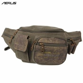 Bolso pequeño de hombro de lona lisa de viaje informal con solapa para hombre con diseño de moda de Aerlis, paquete de 1946