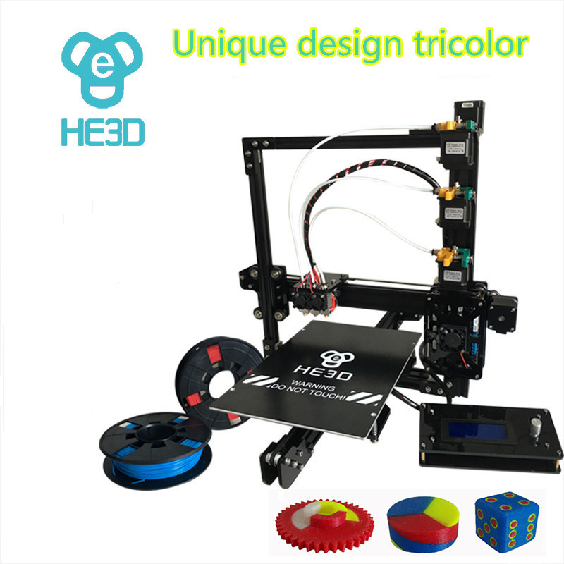 HE3D EI3 tricolore DIY 3D imprimante 24 v alimentation _ auto niveau _ grande taille de construction 200*280 * 200mm_three full metal extrudeuses