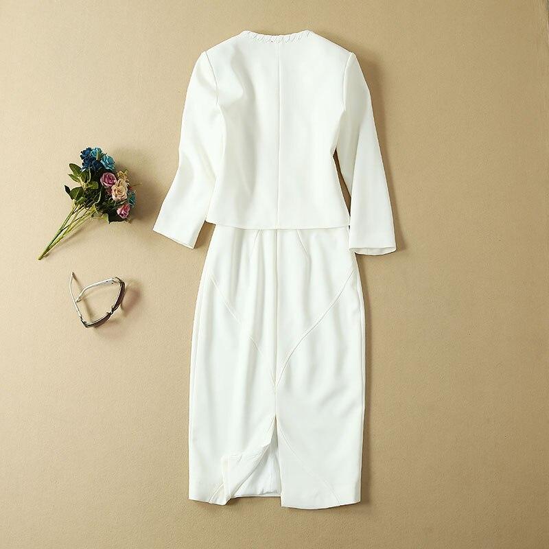 Top Grade Designer vêtements costumes automne ensembles femmes croix chaîne Cardigan vestes + sans manches moulante robe crayon rouge blanc dame - 4