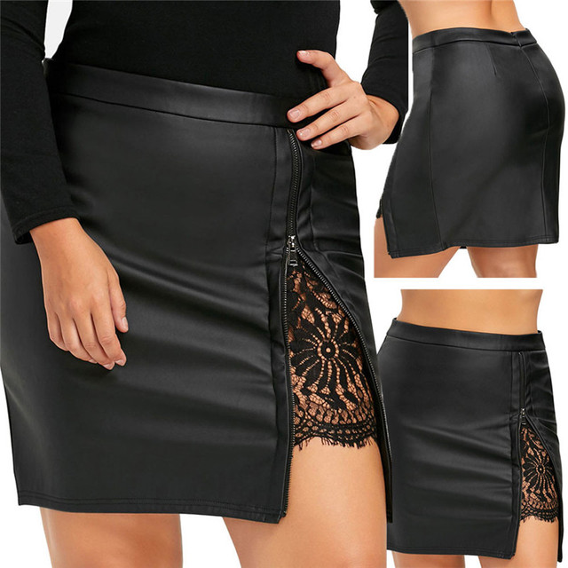 0a10099e3766 New Fashion 2018 Summer style skirts womens casual Party Girls Leater Lace  Uniform Pleated Skirt Femme mini skirt Saia Y10