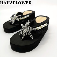 HAHAFLOWER Women Slippers Summer Beach Flip Flops Sandals Pearl Fashion Ladies Platform Shoes