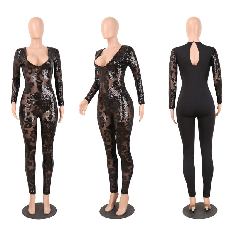 7618835ecd2 HomeJumpsuitsSee Through Black Sequin Jumpsuit. -45%. 🔍. 1  2
