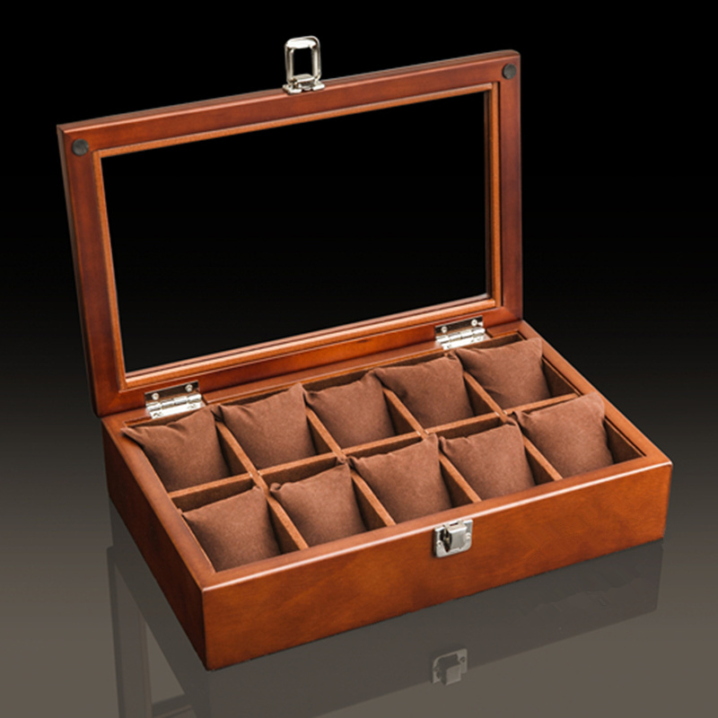 Top 10 Slots Wood Watch Boxes Case Coffee Mechanical Watch Storage Case With Glass Watch Display