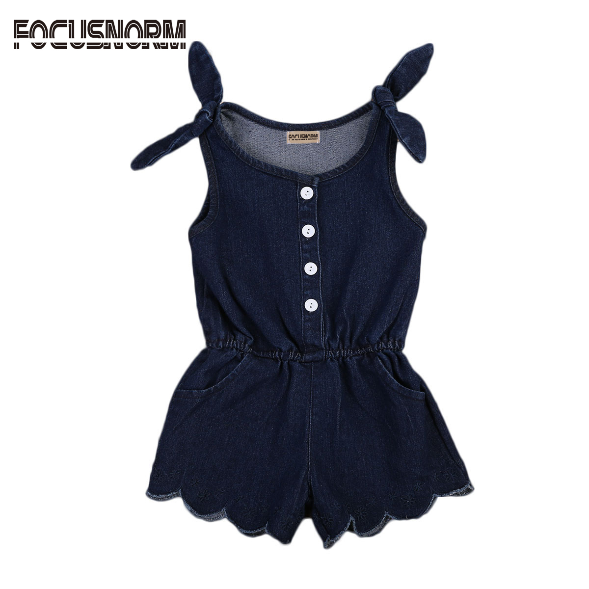Newborn Baby Girls Kids Bow Denim Sleeveless Solid Romper Jumpsuit One Piece Outfit Sunsuit Clothes