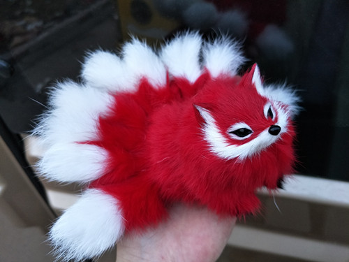 small cute simulation red fox toy polyethylene & furs nine-tails fox doll gift about 16x6x7cm 0961 image