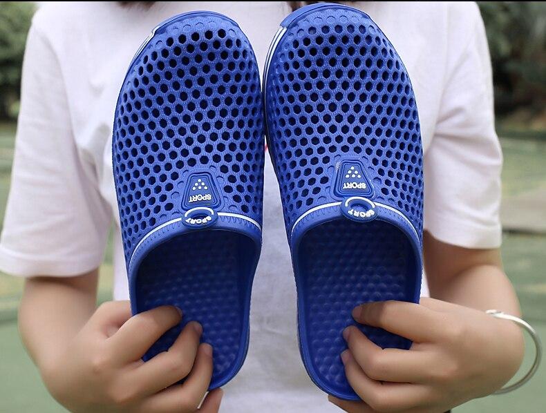 POLALI лета 2018 тапочки мужчины выдалбливают дышащий пляж вьетнамки унисекс свободного покроя скольжения на сандалии квартиры мужчины обувь размер 45