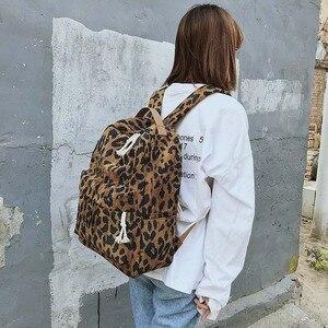 Image 5 - Модный женский рюкзак с леопардовым принтом, вельветовый дорожный рюкзак с двумя ремнями, вместительный школьный рюкзак на плечо для девочек, XA587WB