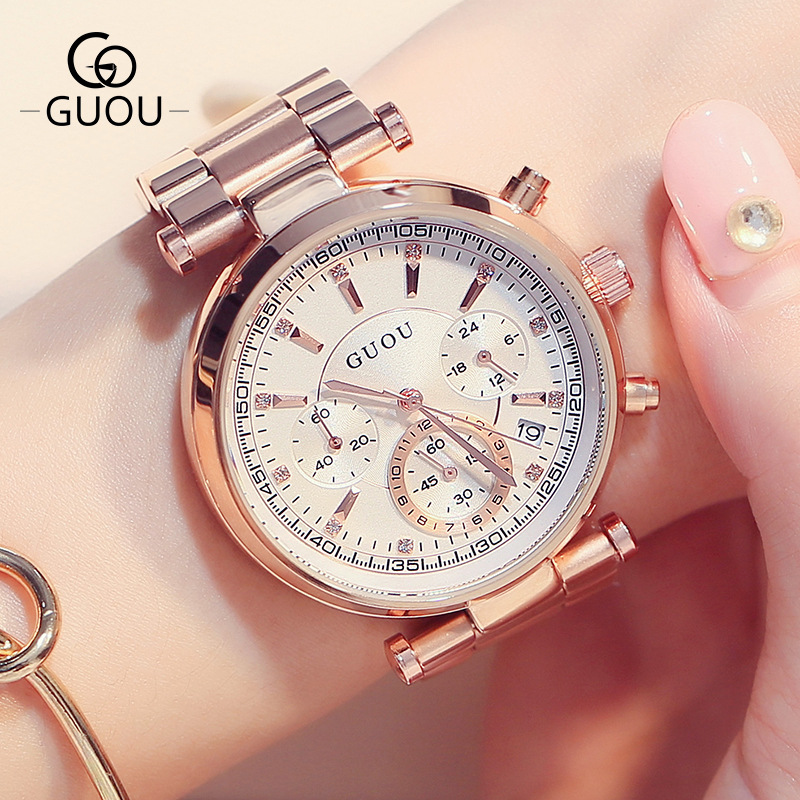 GUOU 3 Eyes Rose Gold Steel Quartz Women Ladies Wristwatches Wrist Watch Bracelet /w Calendar Japan Movt GU003