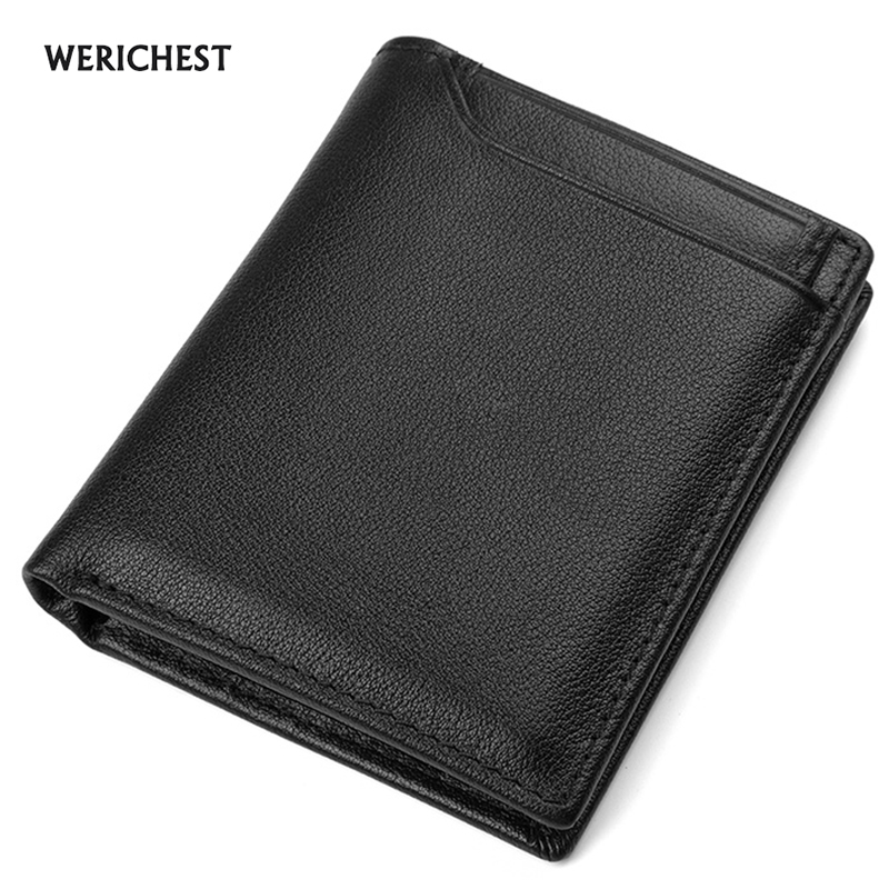 WERICHEST Genuine Leather Men Wallet Small Men Walet High Quality Male Portomonee Short Coin Purse Brand Purse Carteira For Rfid baellerry small mens wallets vintage dull polish short dollar price male cards purse mini leather men wallet carteira masculina