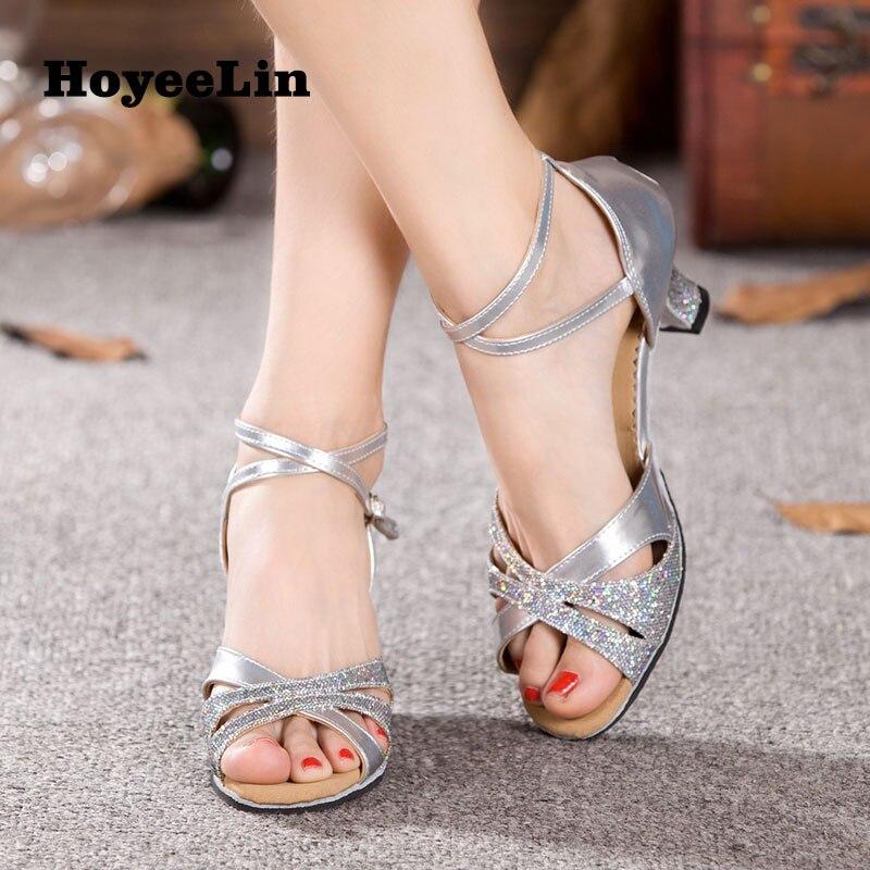 HoYeeLin Latin Dance Shoes Women Ballroom Tango Salsa Dancing Heels Sandals Latin Woman Dance Shoes Shoes For Dance