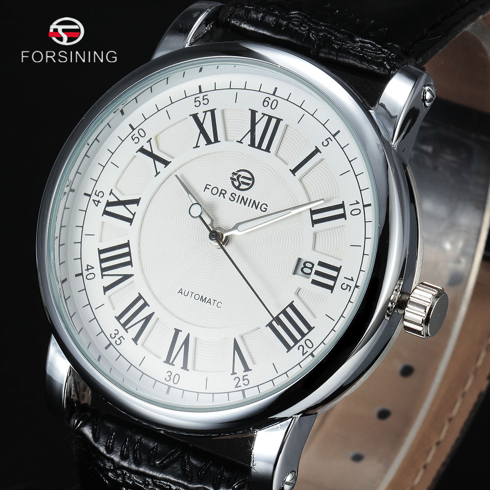 Men Mechanical Wristwatches Leather Auto Date Rome Dail Male Automatic Watch
