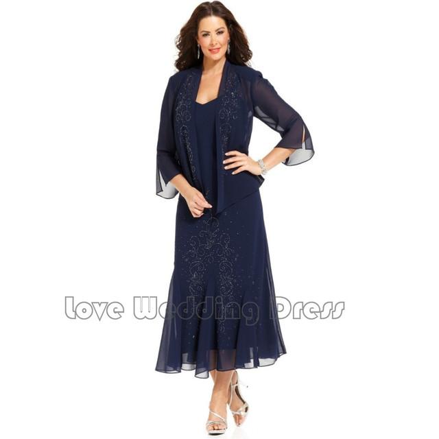 Feminino Chá Comprimento Chiffon Mãe dos Vestidos de Noiva Beading Com Xale Vestido de Noite Formal Novo vestido de madrinha
