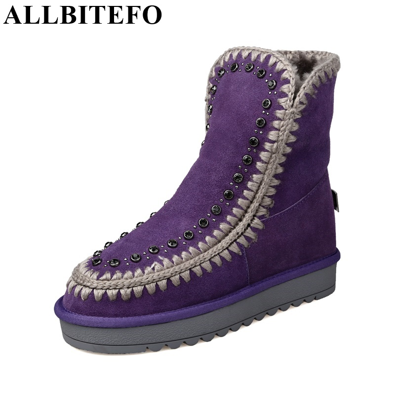 ФОТО ALLBITEFO Flat heel round toe rivets genuine leather winter snow boots fashion platform women boots High quality ankle boots