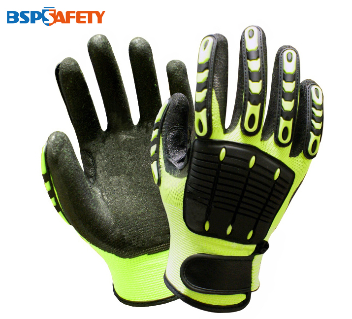 Купить со скидкой Shock Absorbing Glove Mechanics Glove Anti Vibration Oil field Safety Glove Oil Gas Impact Resistant