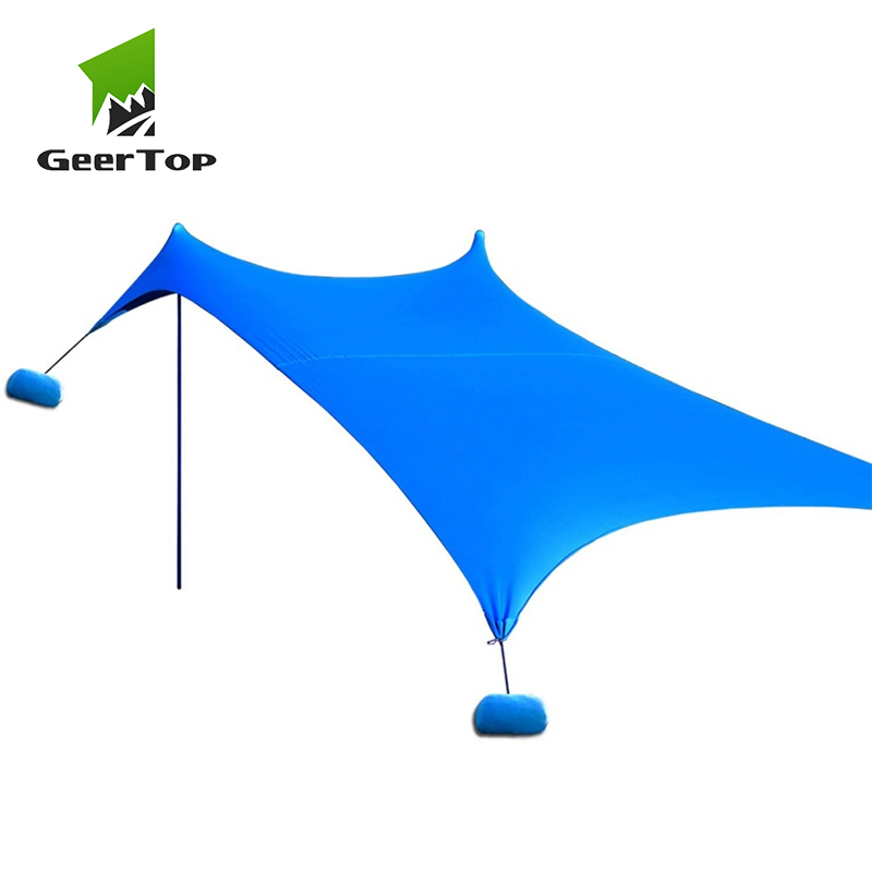 GeerTop parasol de plage auvent résistant au vent UPF 50 + abri de Protection solaire grande bâche avec 4 ancres de sac de sable pour jardin extérieur