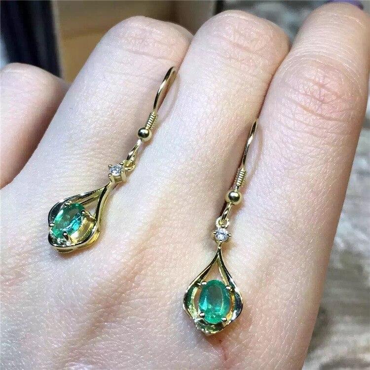KJJEAXCMY boutique bijoux 925 pur argent naturel émeraude collier incrustation bijoux femelle plaqué or pierre gemme goutte - 2