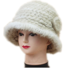 Real mink fur fedoras for women winter autumn genuine knitted warm caps with flowers new design H122
