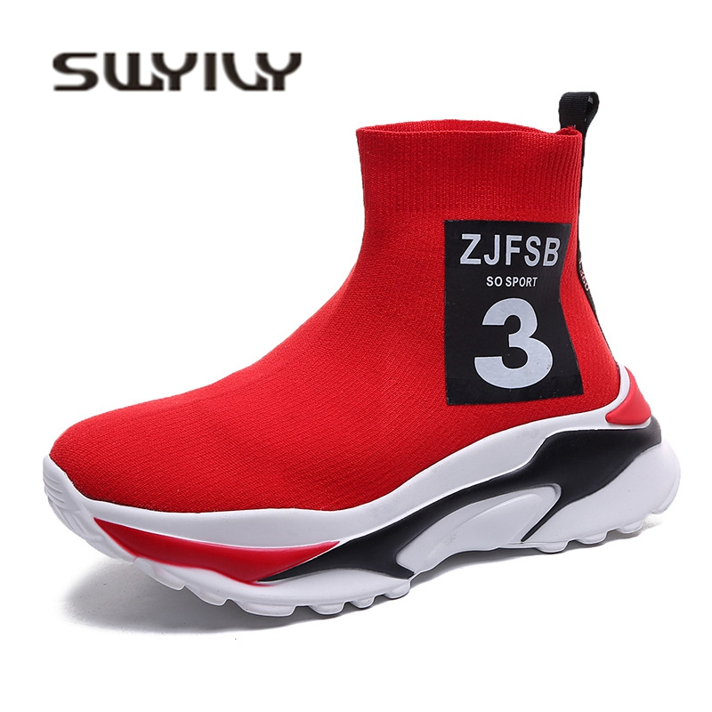 SWYIVY Womens Sock Boots Knitting Breathable 2018 Female Casual Shoes High Top Autumn New Lady Leisure Ankle Boots Shoes Red