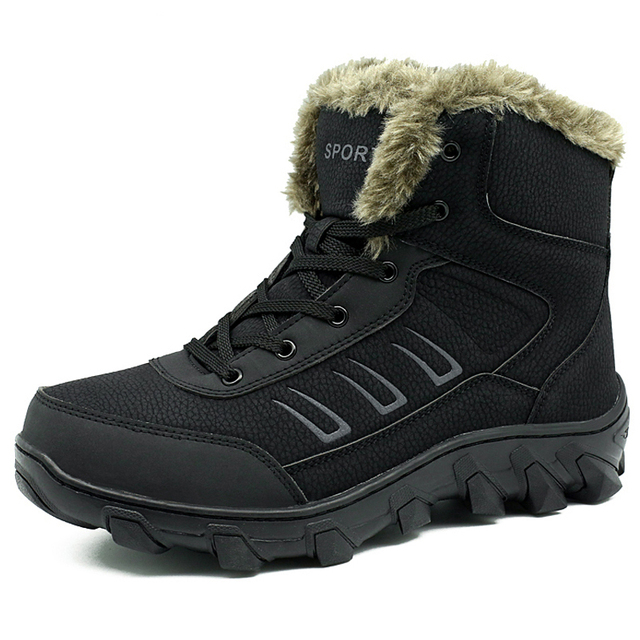 2016 Winter Super Warm Fur Men Genuine Leather Snow Boots Fashion Comfortable Men Travel Boots For Men Flat Shoes Big Size 39-48