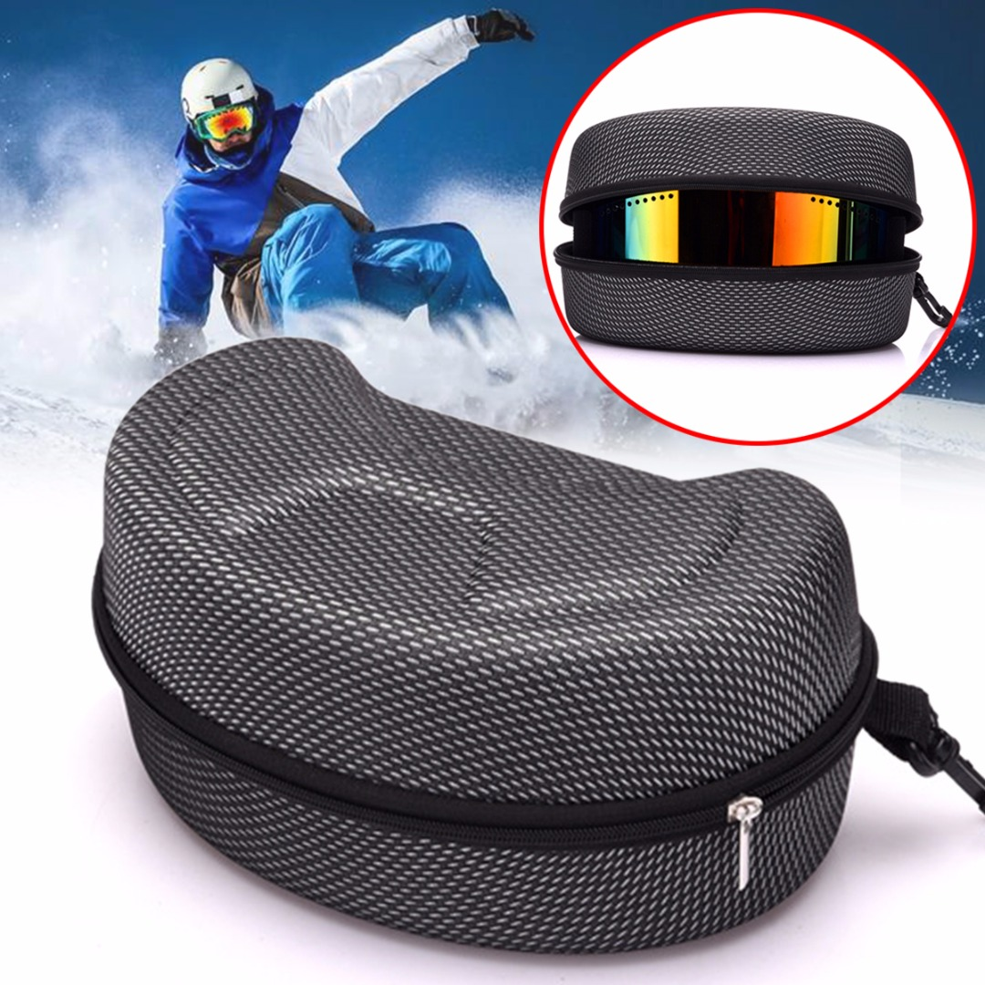 Portable Snow Ski Snowboard Goggles Glasses Protector Case Carrying Case Zipper Hard Box Holder