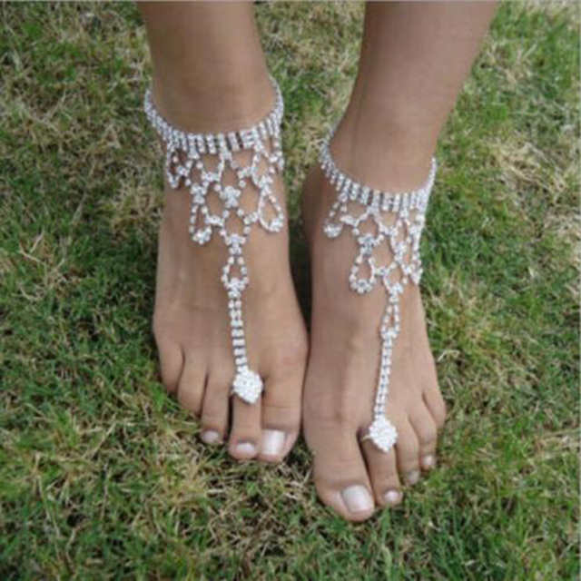 1 Pcs Facebook Hot Anklet Accessories Women Sexy Rhinestone Barefoot  Sandals Crystal Anklet Beach Foot Jewelry f639fabda49c